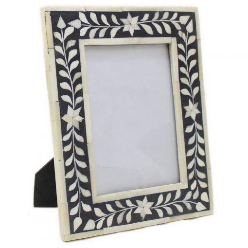 Bone Inlay Photo Frame in Black