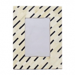Bone Inlay Photo Frame in Black/Ivory