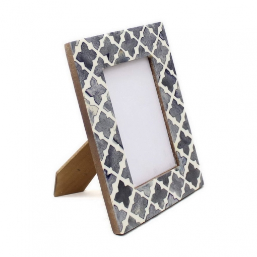 Bone Inlay Photo Frame in Grey