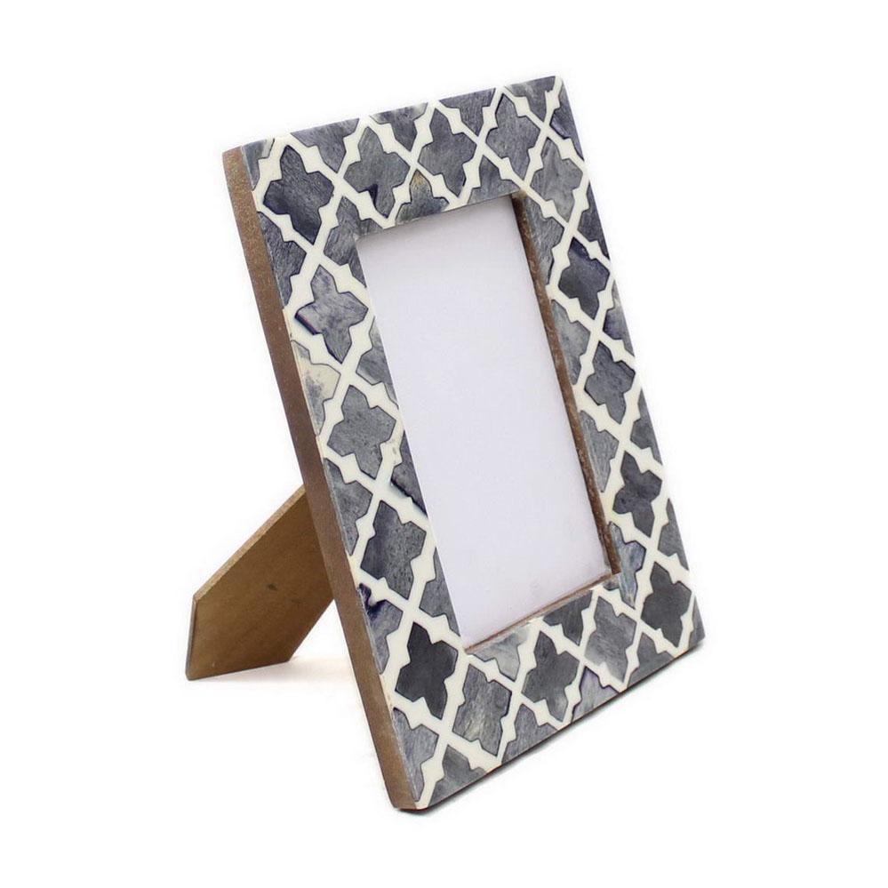 grey quatrefoil bone inlay photo frame roomattic
