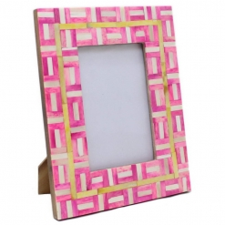Bone Inlay Photo Frame in Pink/Yellow/Ivory
