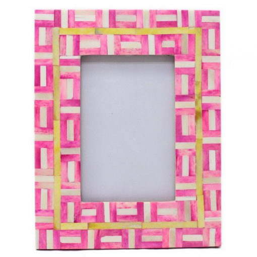 Bone Inlay Photo Frame in Pink/Yellow/Ivory
