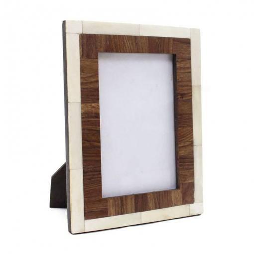 Bone Inlay Photo Frame in Brown/Ivory