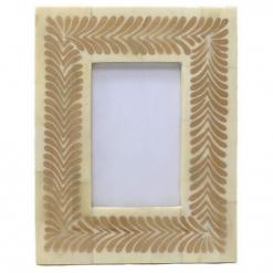 Bone Inlay Photo Frame in Metallic Gold/Ivory
