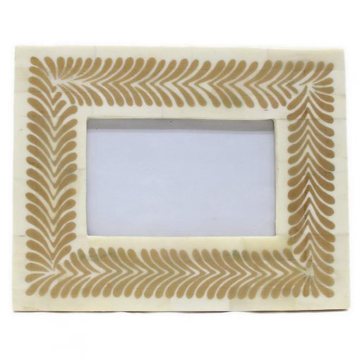 Bone Inlay Photo Frame in Metallic Gold/Ivory
