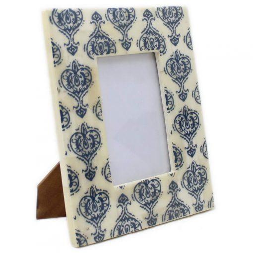 Bone Inlay Photo Frame in Blue/Ivory