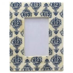 Bone Inlay Photo Frame in Blue/Ivory