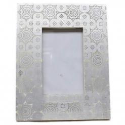 Bone Inlay Photo Frame in Silver