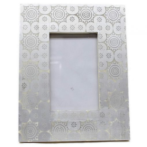 Bone Inlay Photo Frame in Silver