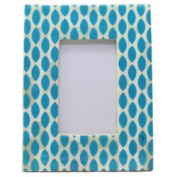 Bone Inlay Photo Frame in Aquamarine