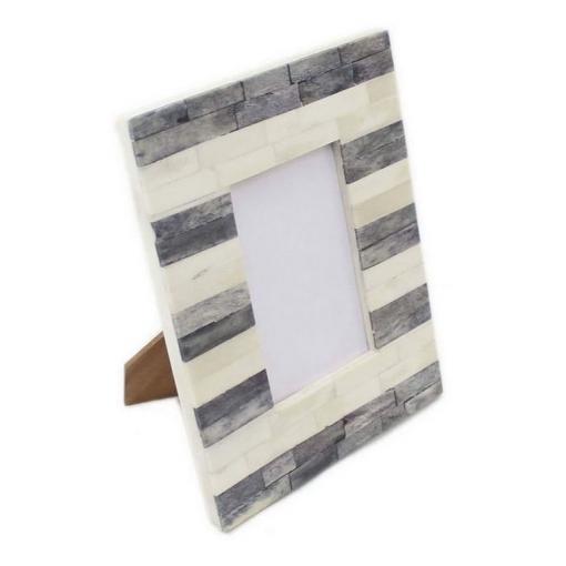 Bone Inlay Photo Frame in Grey/Ivory