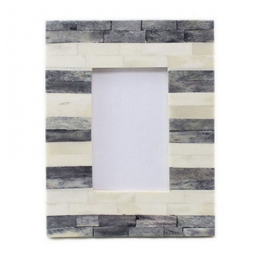 Bone Inlay Photo Frame in Grey/Ivory