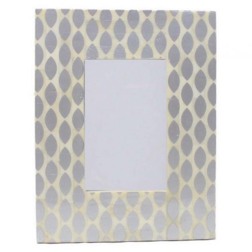 Bone Inlay Photo Frame in Silver/Ivory