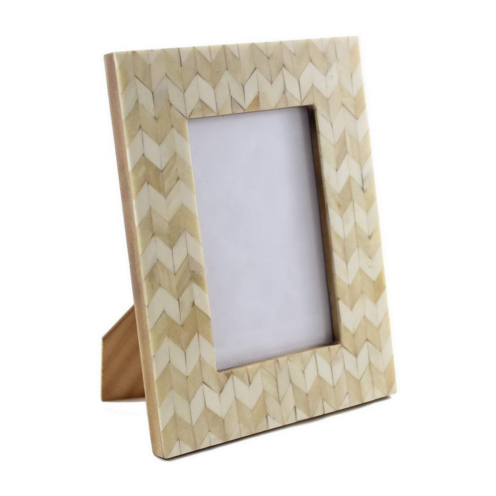Cream Chevron Bone Inlay Photo Frame Roomattic