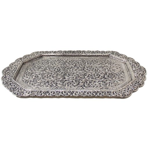 White Metal Decorative Tray