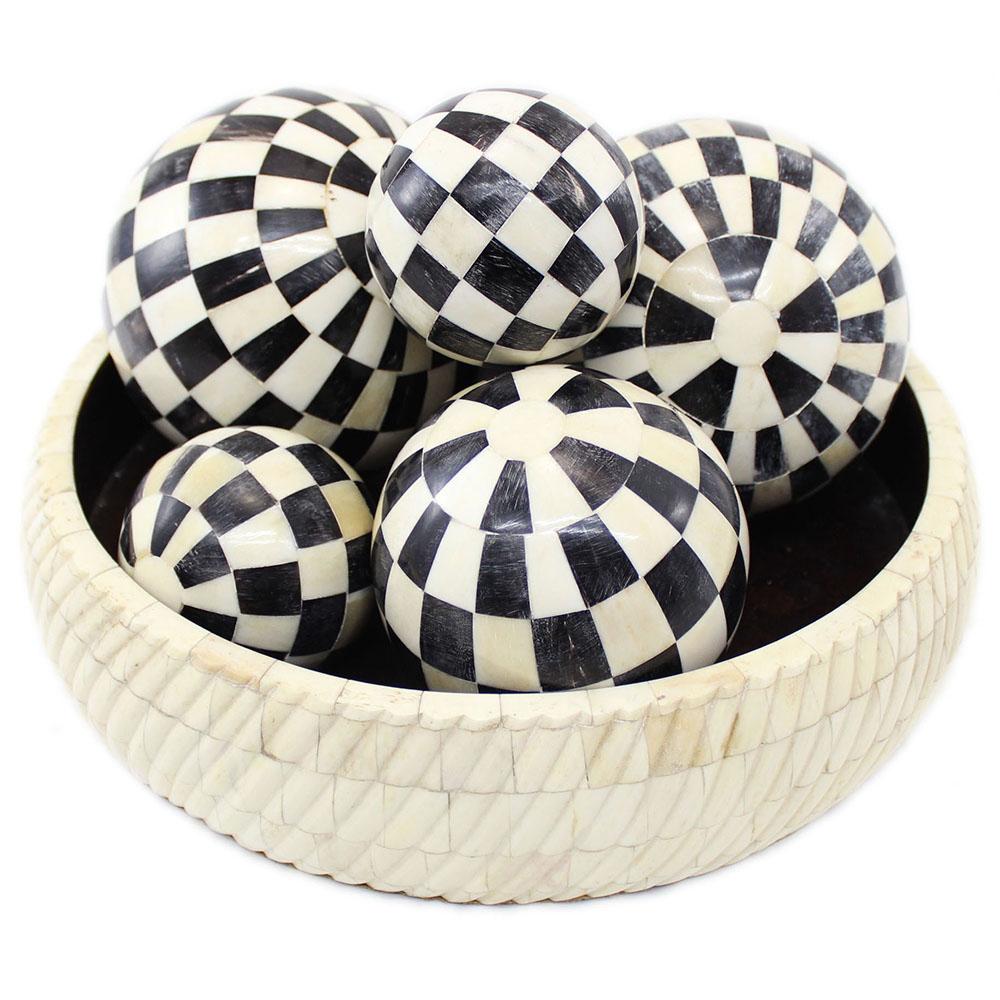 Black Decorative Balls For Bowls: Calla Bone & Horn Inlay Decorative Balls