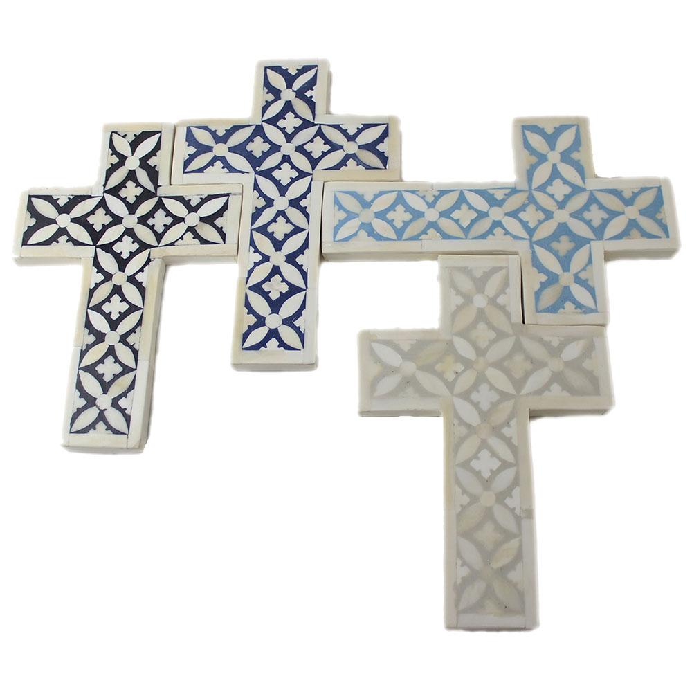r15110 prussian blue bone inlay decorative cross roomattic - Decorative Cross