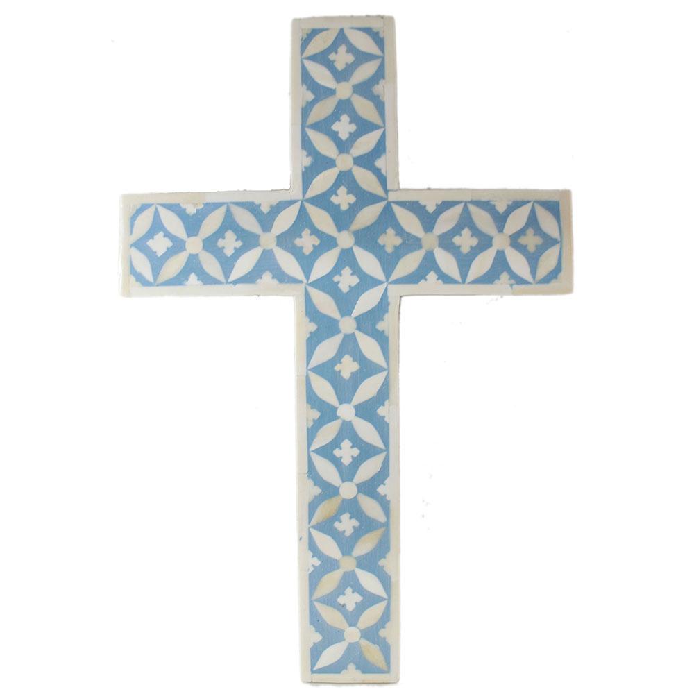 r15111 cornflower blue bone inlay decorative cross roomattic - Decorative Cross