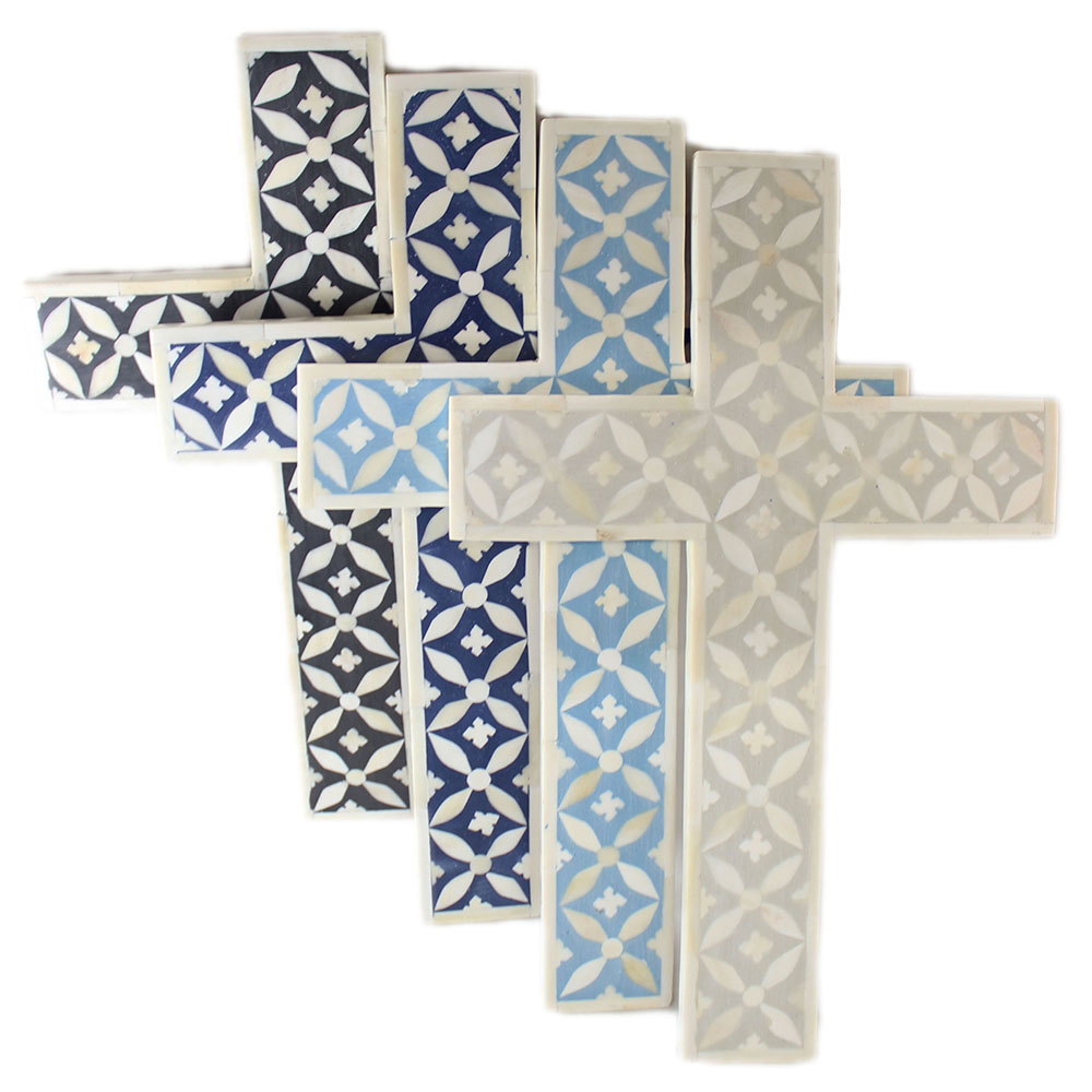 r15112 antique white bone inlay decorative cross roomattic - Decorative Cross