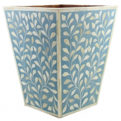 Leaves Motif Bone Inlay Basket