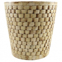 Brick Design Natural Ivory Round Basket