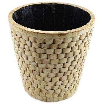 Brick Design Natural Ivory Round Basket
