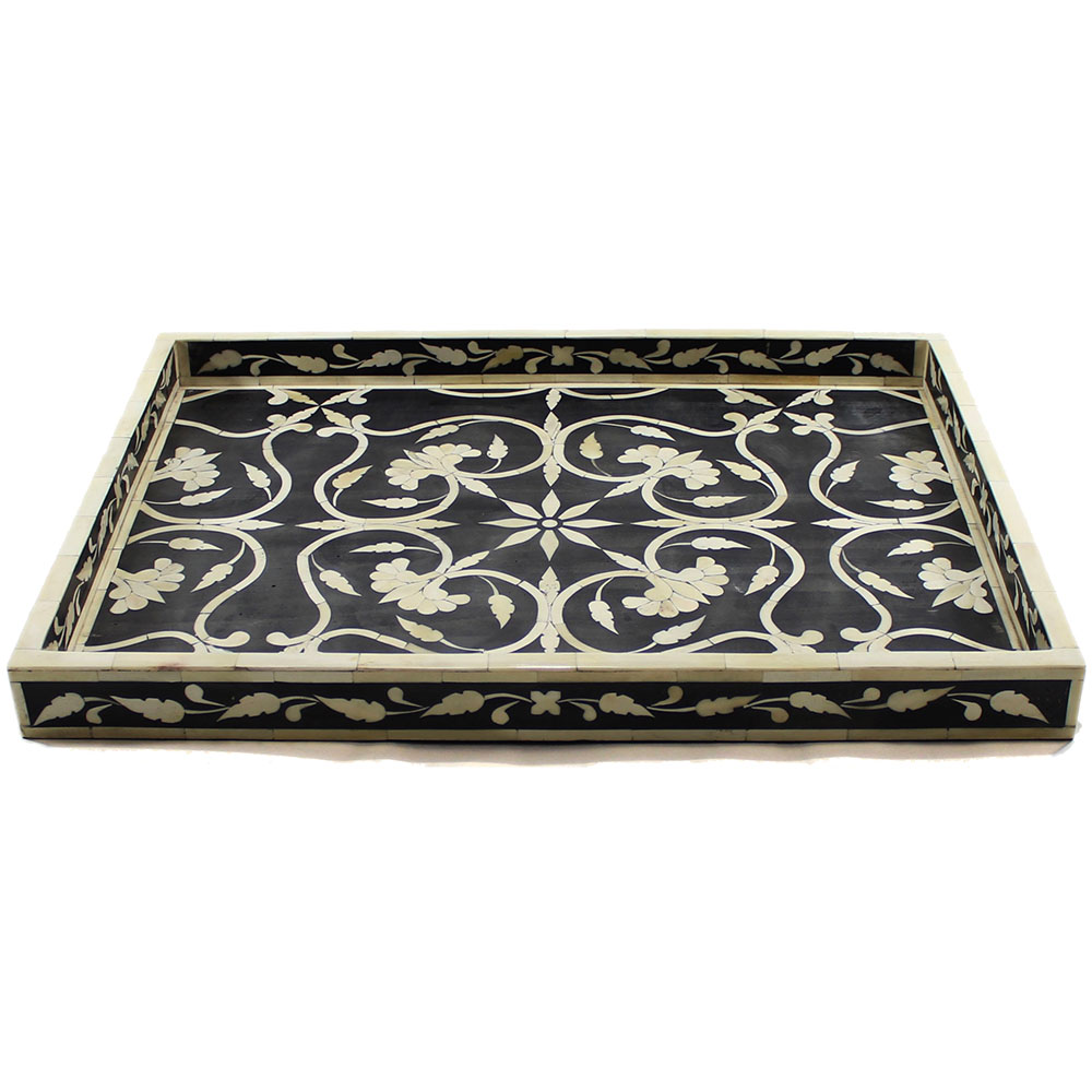 r805 a_floral motif bone inlay decorative tray_roomattic_2 - Decorative Tray