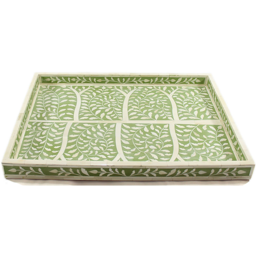 r806 a_botanical olive green bone inlay decorative tray_roomattic_2 - Decorative Tray