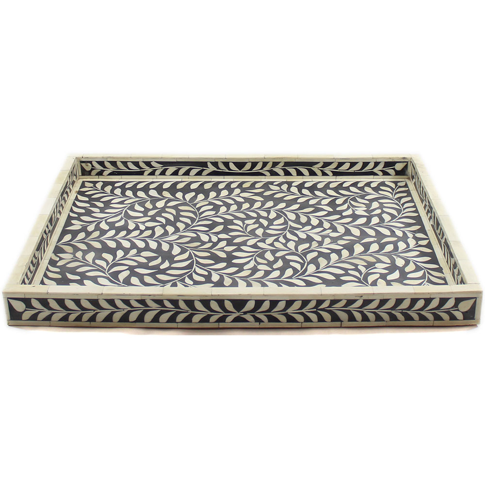 Decorative Metal Tray Leaves Motif Decorative Bone Inlay Tray Roomattic