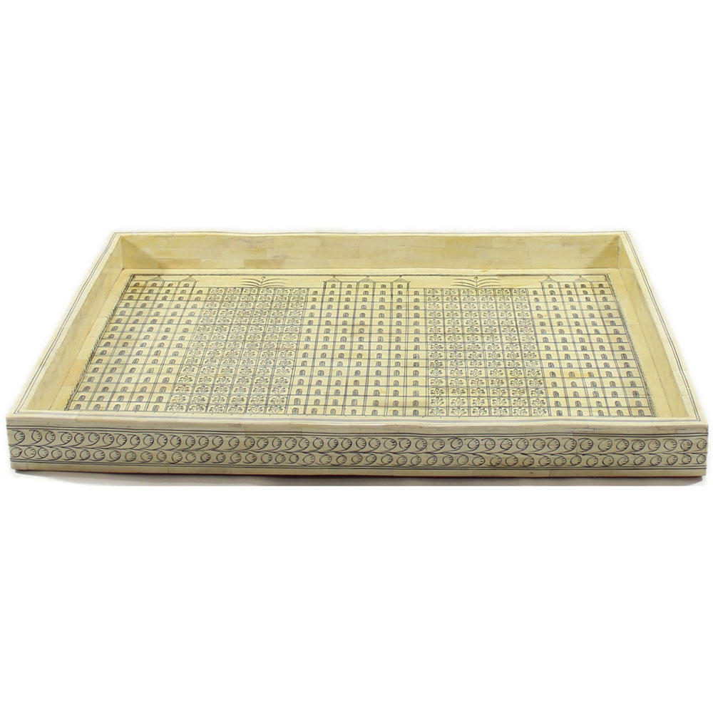 r816 a_handpainted floral motifs bone inlay decorative tray_roomattic_2 - Decorative Tray