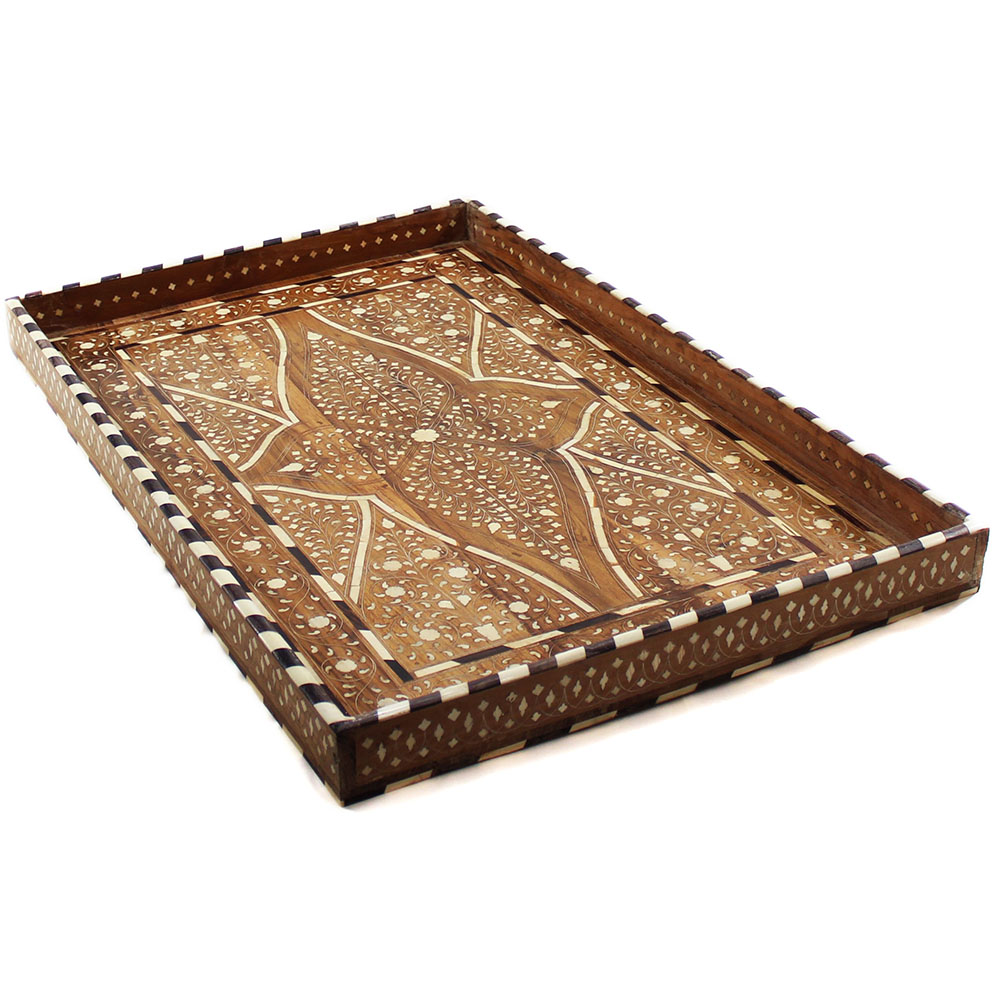 r820_vine motif mango wood bone inlay decorative tray_roomattic - Decorative Tray