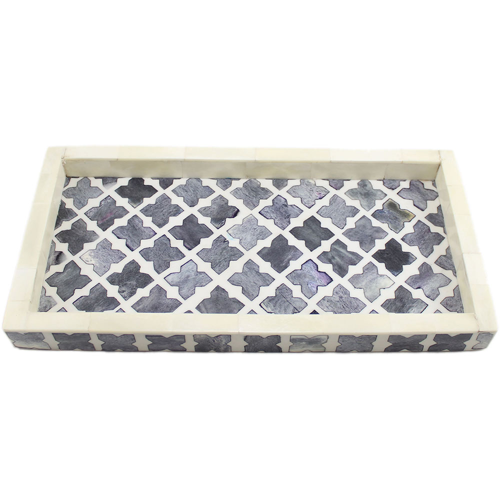 r852 a_quatrefoil grey bone inlay decorative tray_roomattic_2 - Decorative Tray