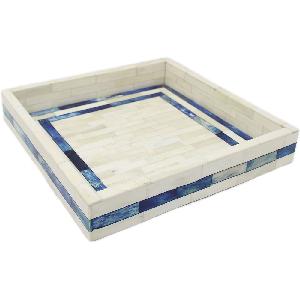 Decorative Boxes And Trays : Natural bone midnight blue decorative tray roomattic