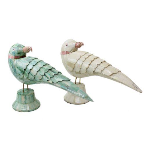 Bone Inlay Parrot Figure