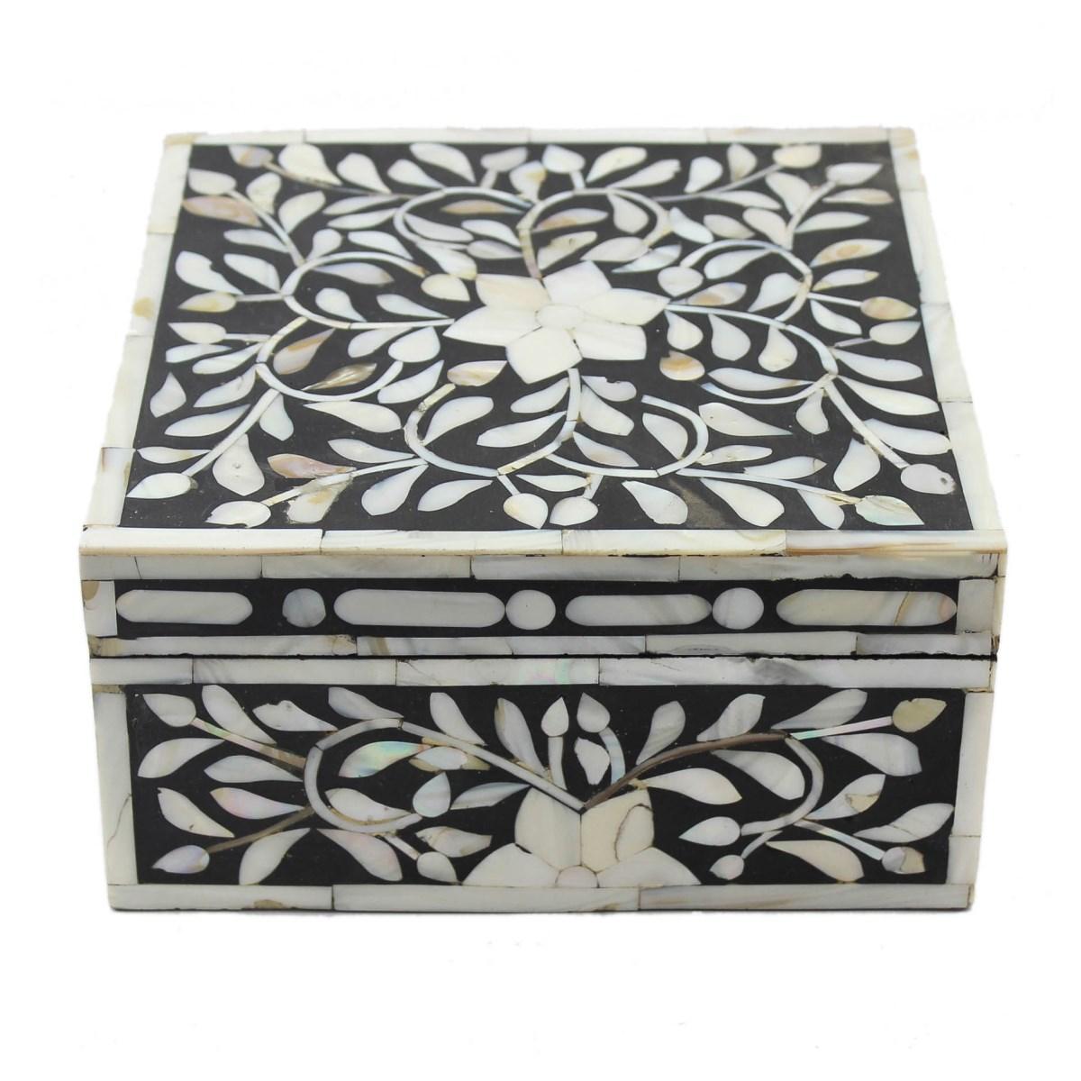 Decorative Bone Boxes : Bold black pearl inlay decorative box roomattic