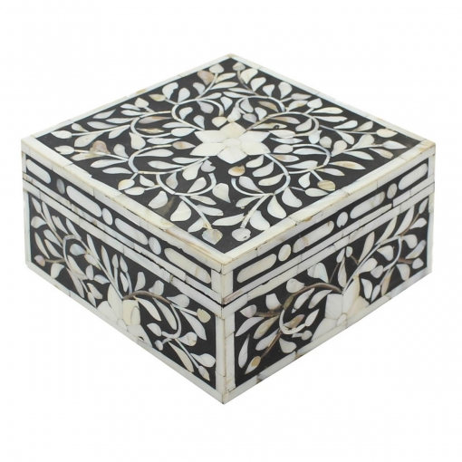 Bold Black Pearl Inlay Decorative Box