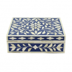 Navy Blue Bone Inlay Decorative Box