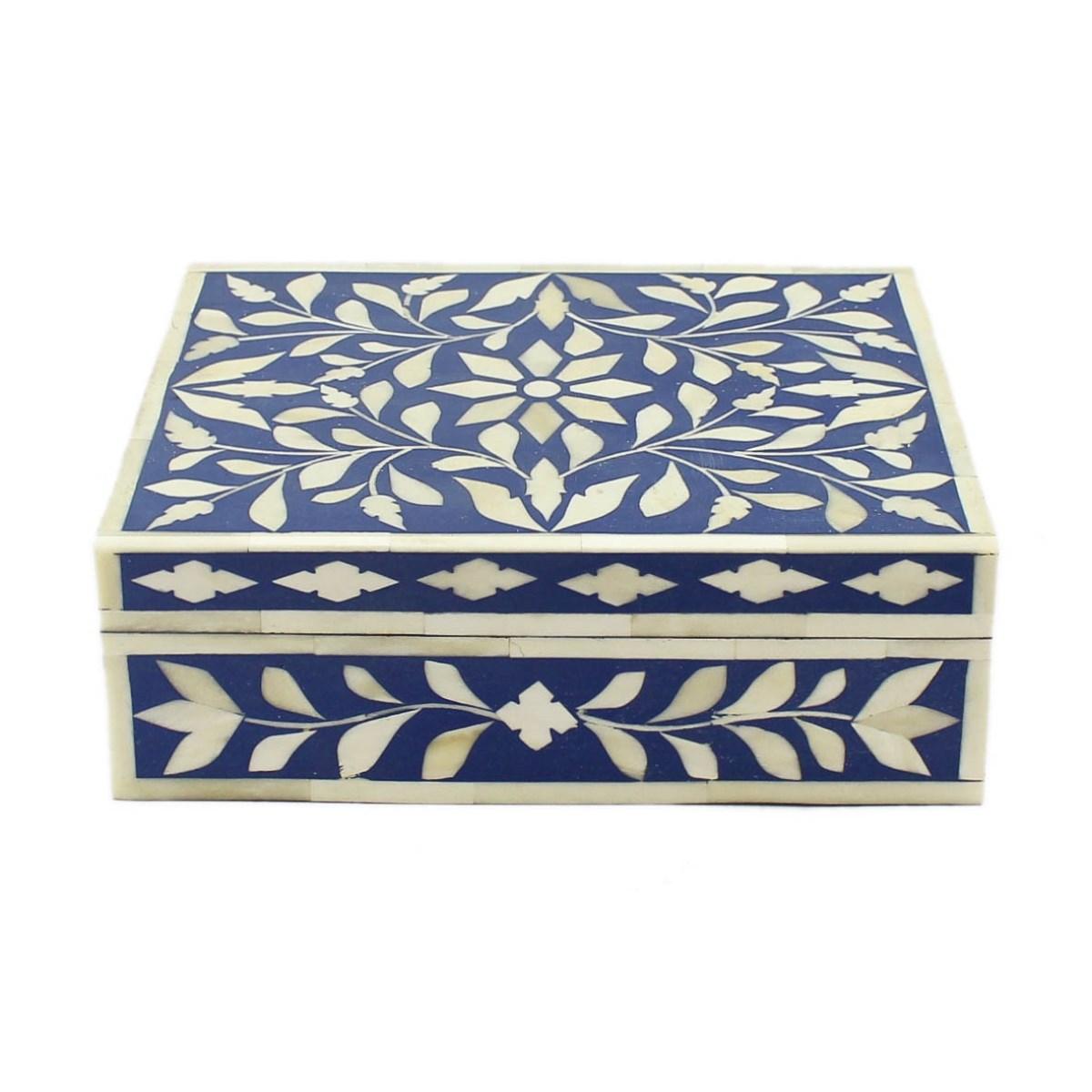 navy blue bone inlay decorative box roomattic 1 - Decorative Box