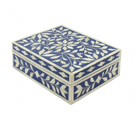 Navy Blue Bone Inlay Decorative Box