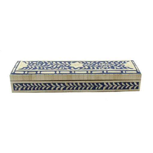 Navy Blue Trinket Bone Inlay Decorative Box
