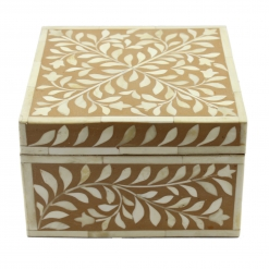 Tan Brown Bone Inlay Decorative Box