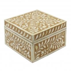 Tan Brown Bone Inlay Decorative Box