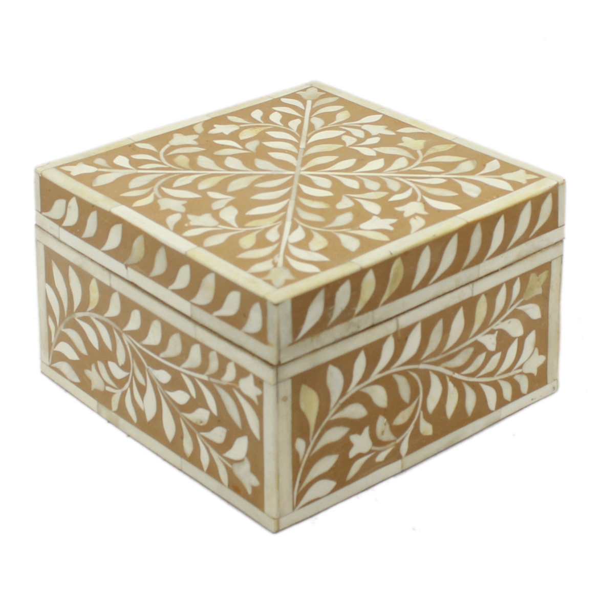 Decorative Bone Boxes : Tan brown bone inlay decorative box roomattic