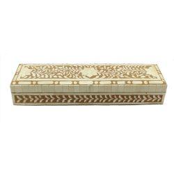 Tan Brown Trinket Bone Inlay Decorative Box