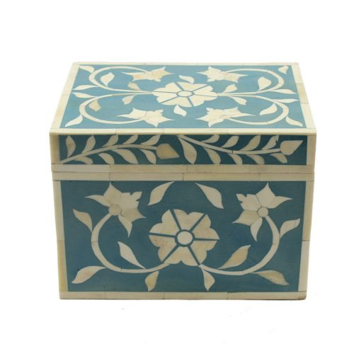 Teal Trinket Bone Inlay Decorative Box
