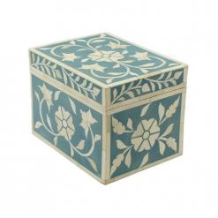 Teal Trinket Bone Inlay Decorative Box