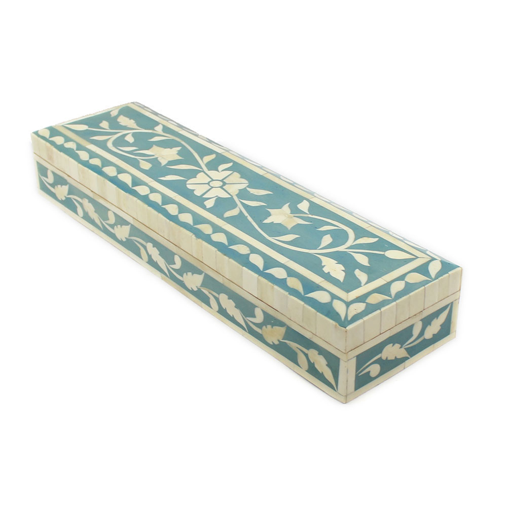 Decorative Bone Boxes : Terese teal bone inlay decorative boxes roomattic