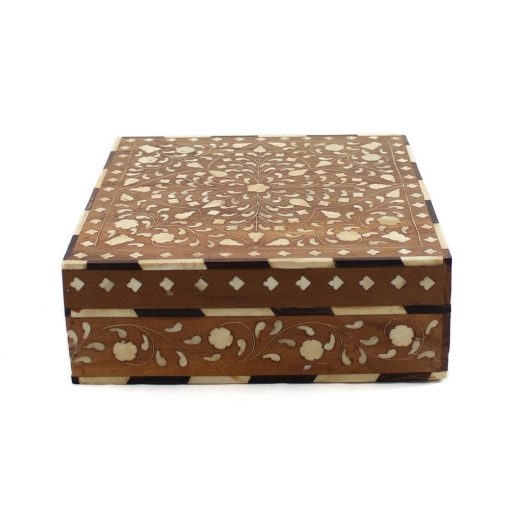 Wooden Floral Bone Inlay Decorative Box