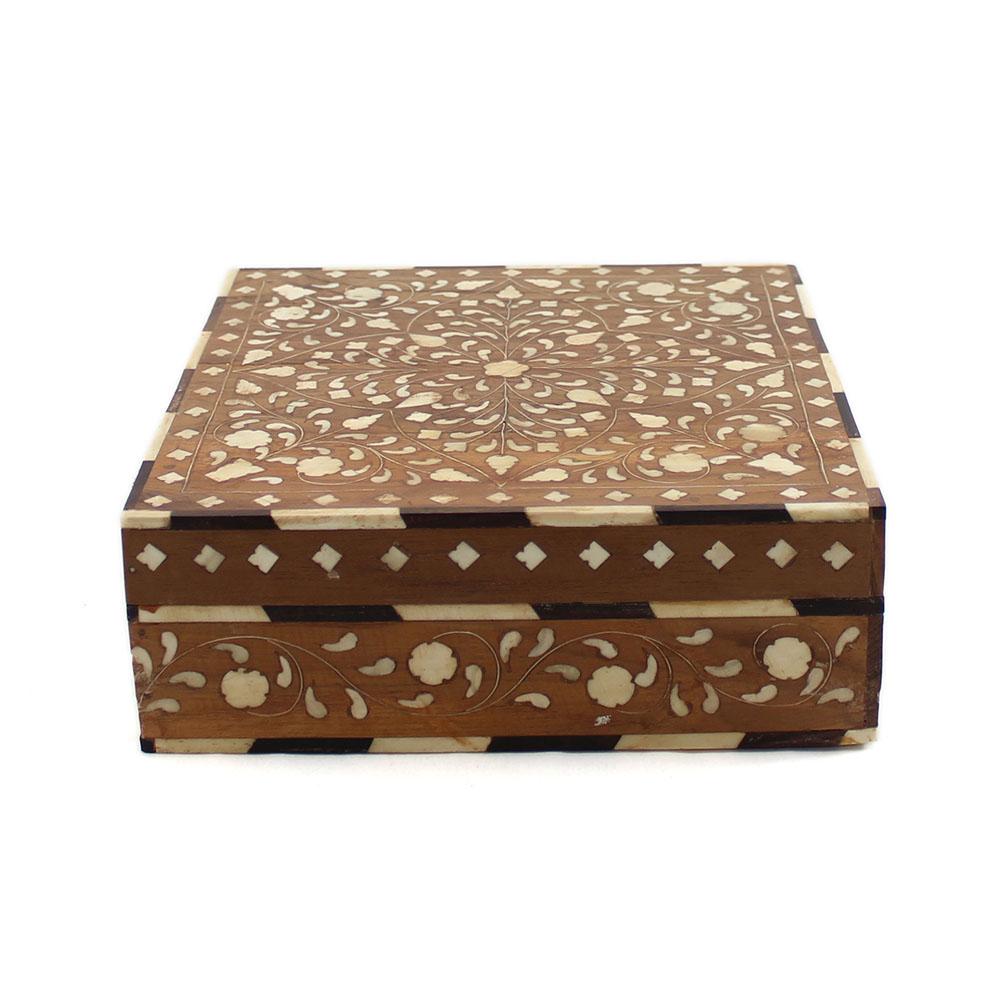 Decorative Bone Boxes : Wooden floral bone inlay decorative box roomattic