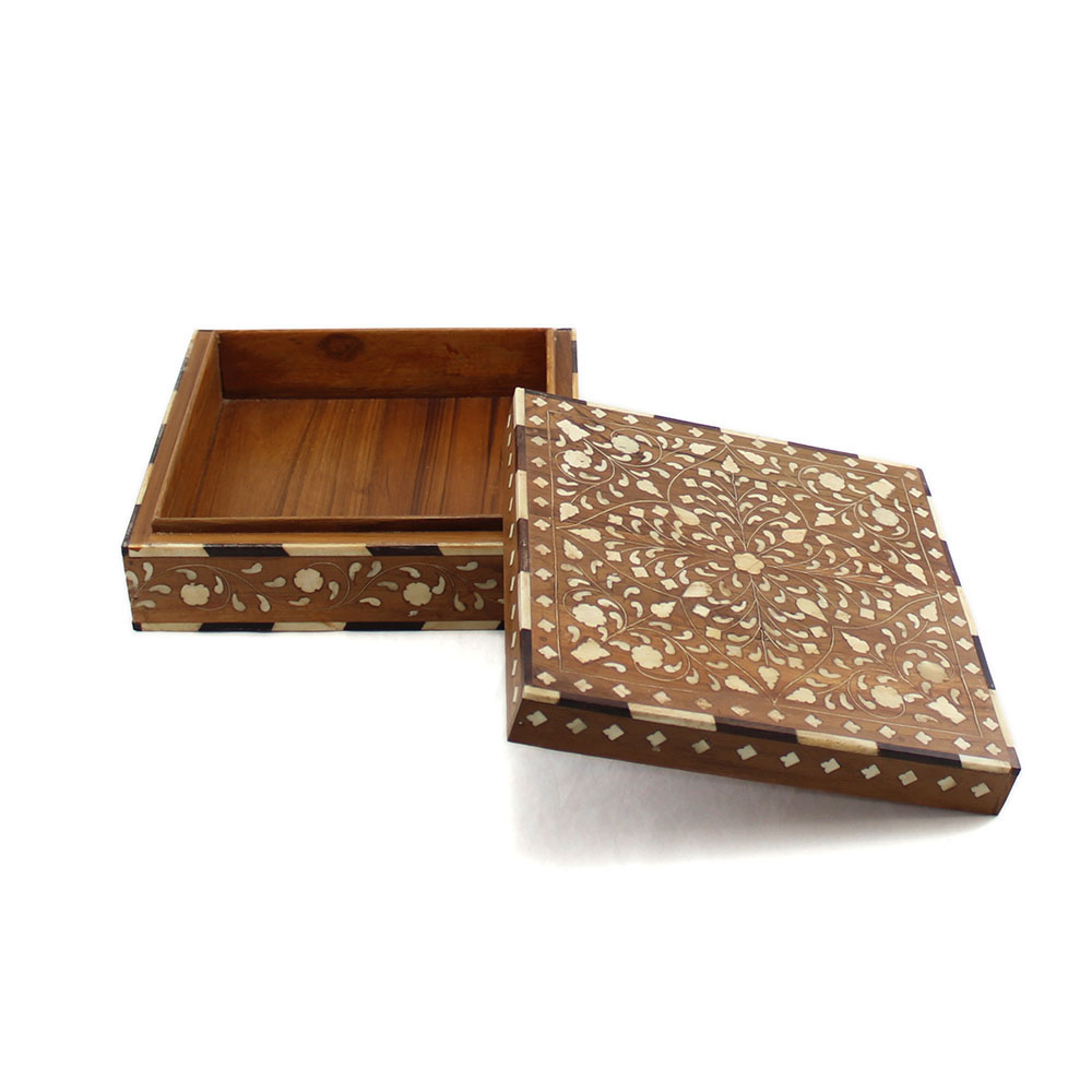 Decorative bone boxes : Wooden floral bone inlay decorative box roomattic
